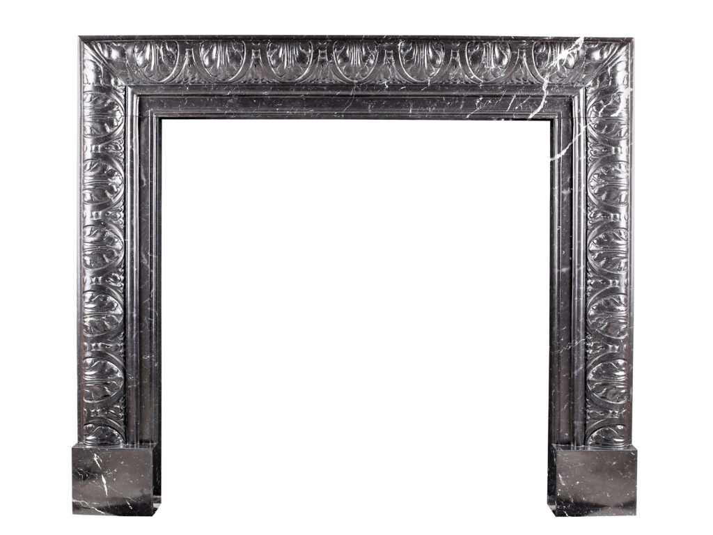 An Elegant Regency Baroque Carved Bolection Fireplace Surround In High Quality Italian Nicely Veined Italian Nero Marquina Marble Marble Granite Craftsmen