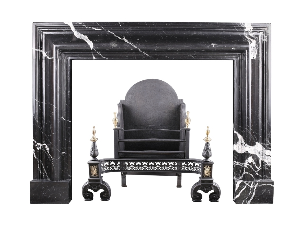A Grand Queen Anne Style Bolection Fireplace In Italian Nero Marquina Marble Marble Granite Craftsmen